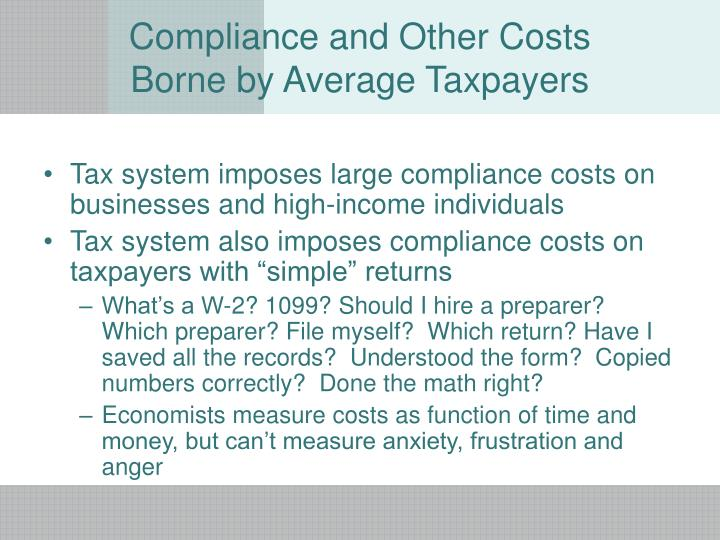 Compliance and other costs borne by average taxpayers