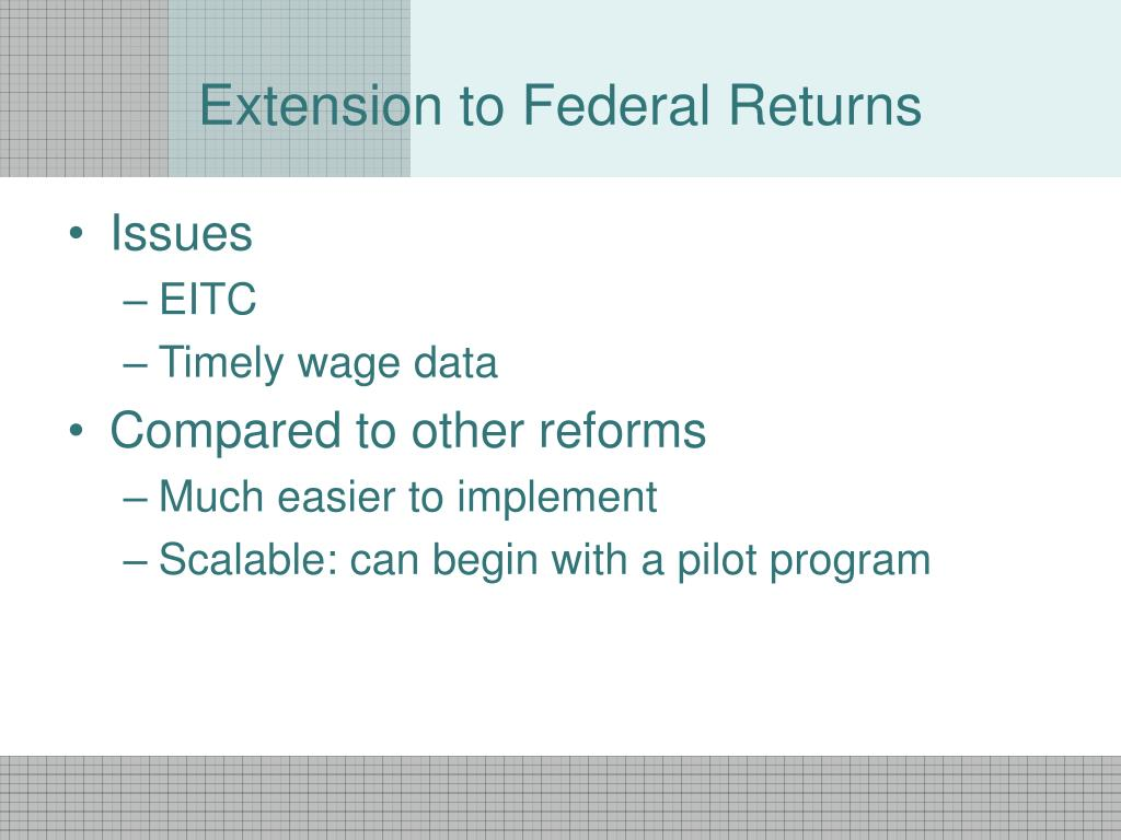 Extension to Federal Returns