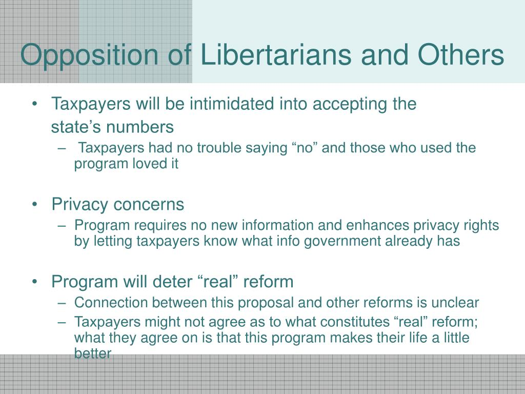 Opposition of Libertarians and Others