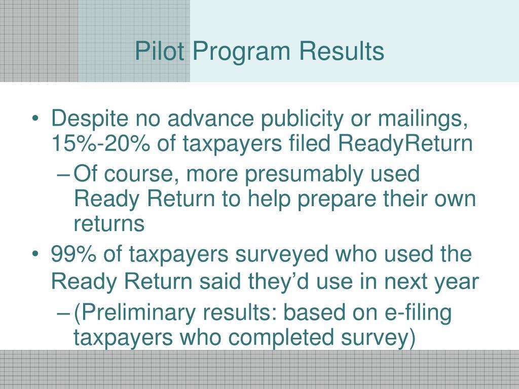 Pilot Program Results
