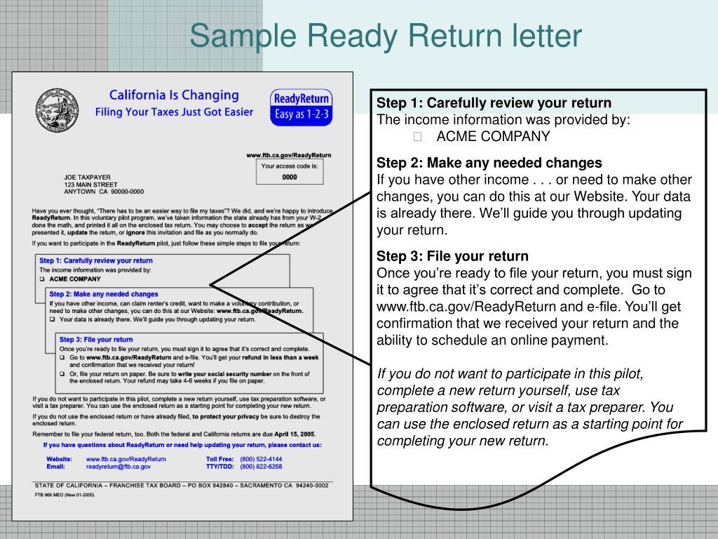 Sample Ready Return letter