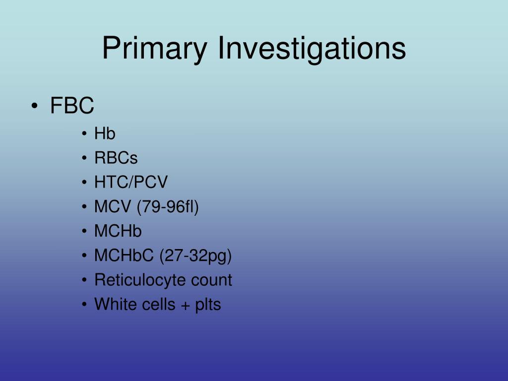 Primary Investigations