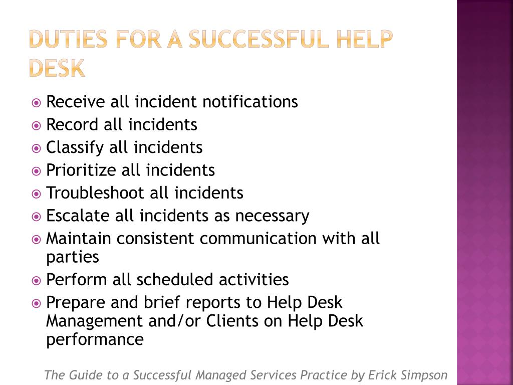 Duties for a Successful Help Desk