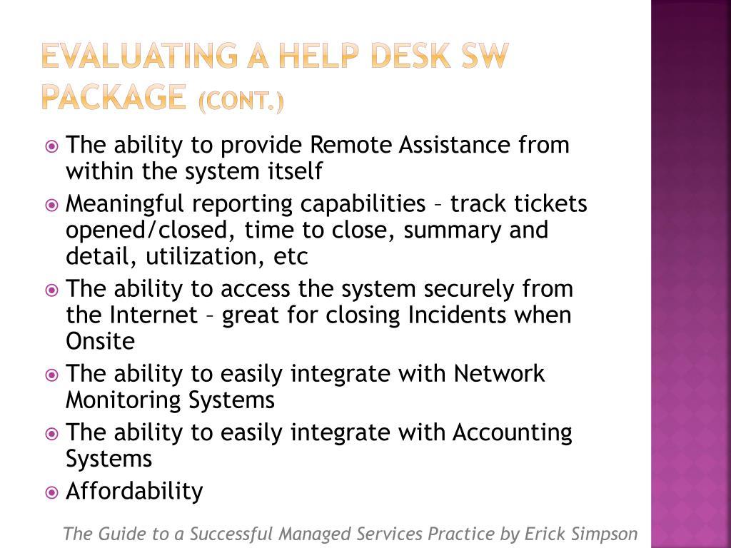 Evaluating a Help Desk SW