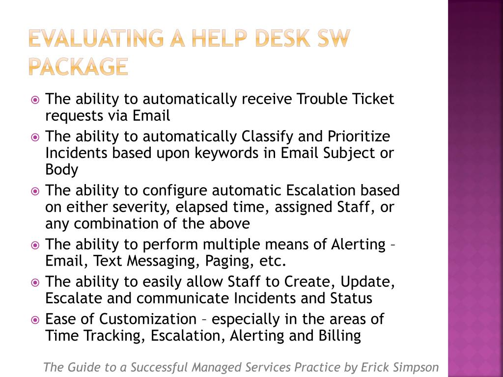 Evaluating a Help Desk SW Package