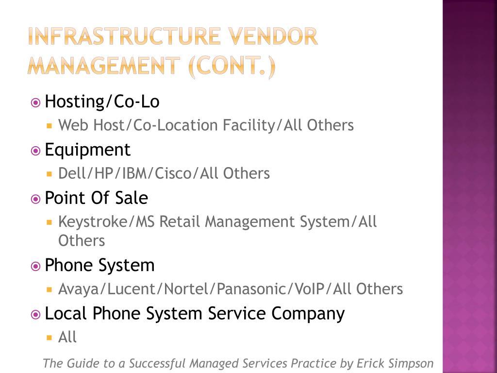 Infrastructure Vendor Management