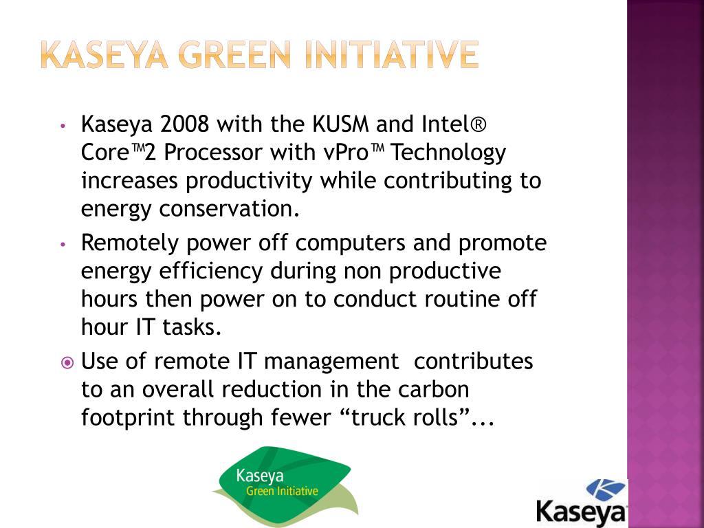 Kaseya Green Initiative