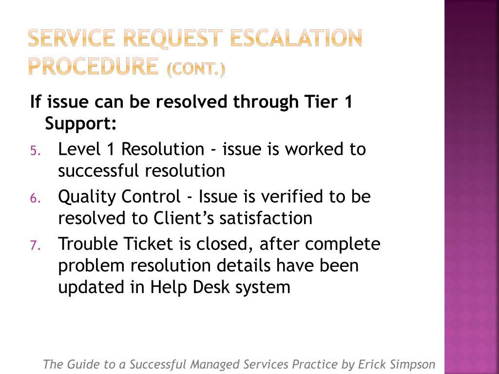 Service Request Escalation