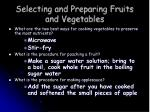 selecting and preparing fruits and vegetables13