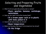 selecting and preparing fruits and vegetables9