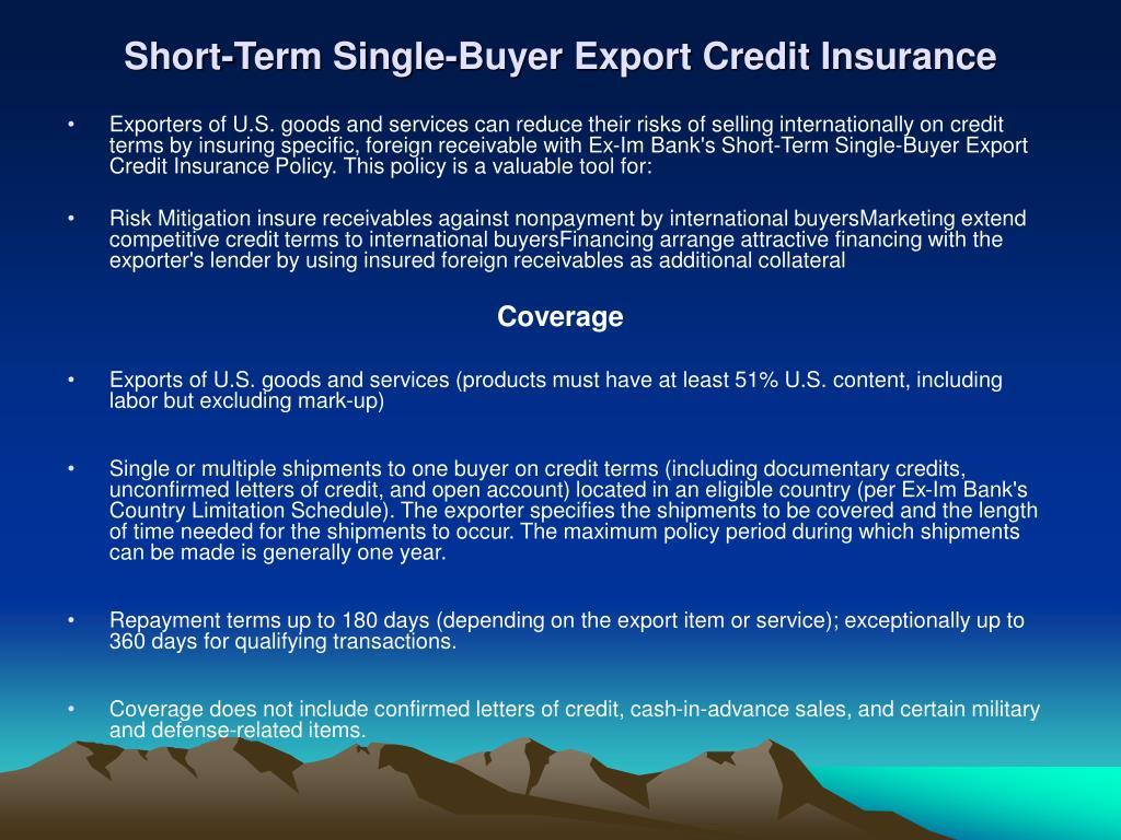 Short-Term Single-Buyer Export Credit Insurance