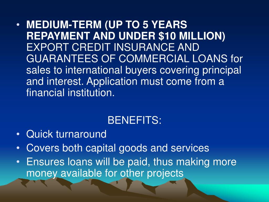 MEDIUM-TERM (UP TO 5 YEARS REPAYMENT AND UNDER $10 MILLION)
