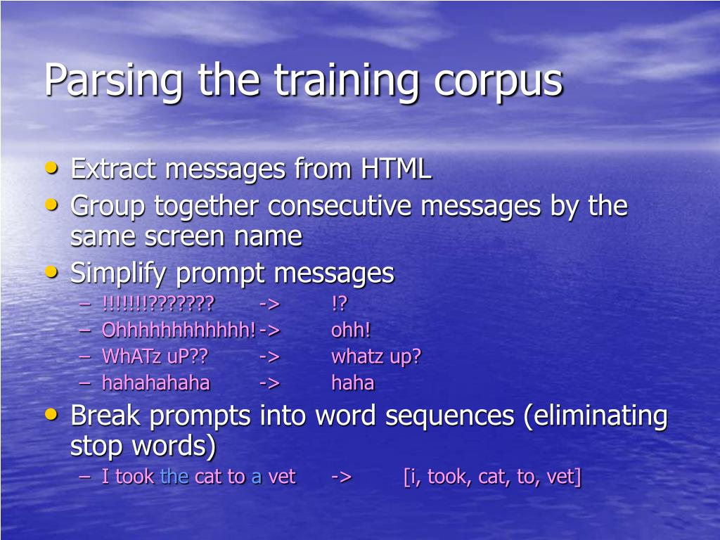 Parsing the training corpus