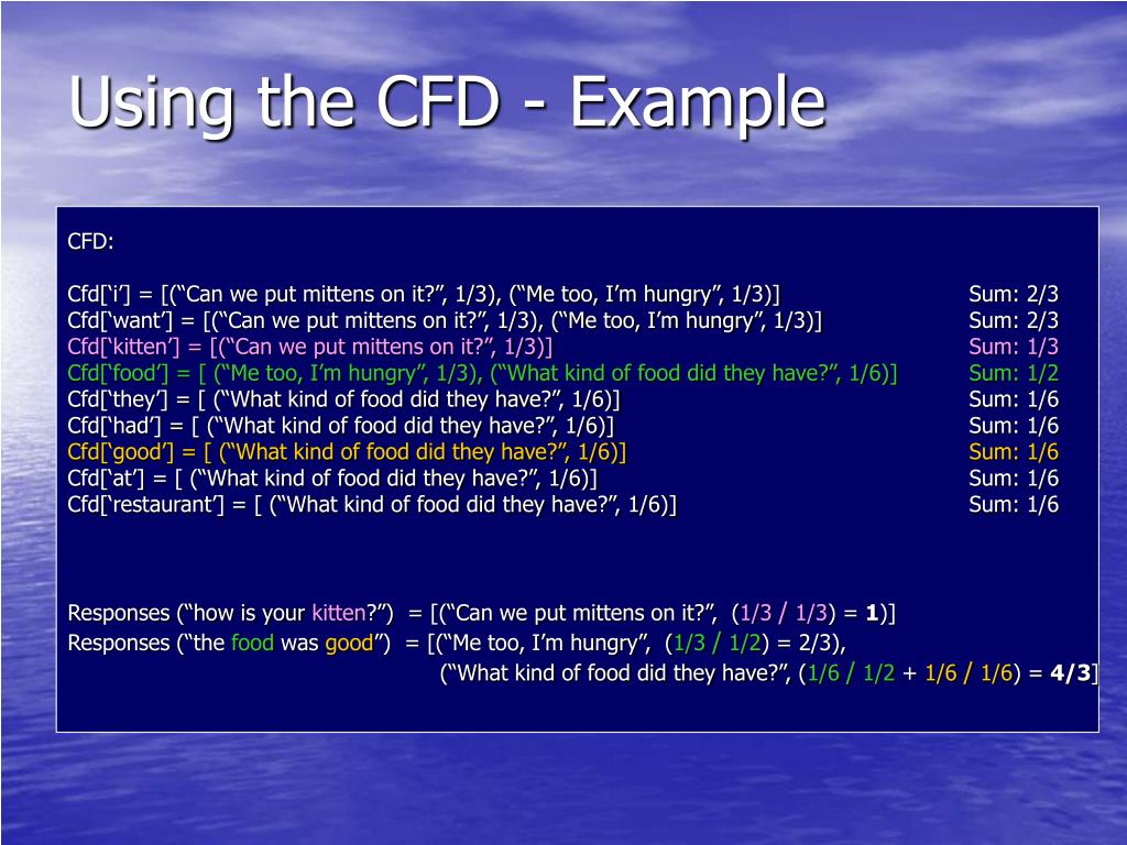 Using the CFD - Example