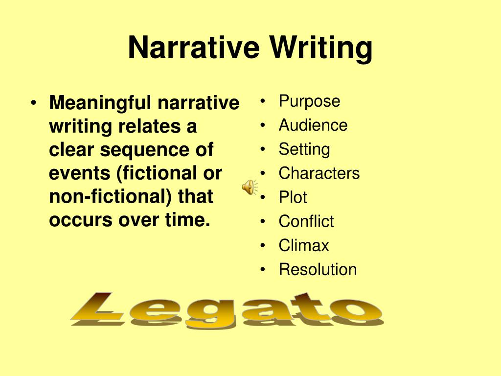 Meaningful narrative writing relates a clear sequence of events (fictional or non-fictional) that occurs over time.