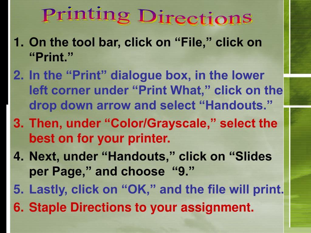 Printing Directions