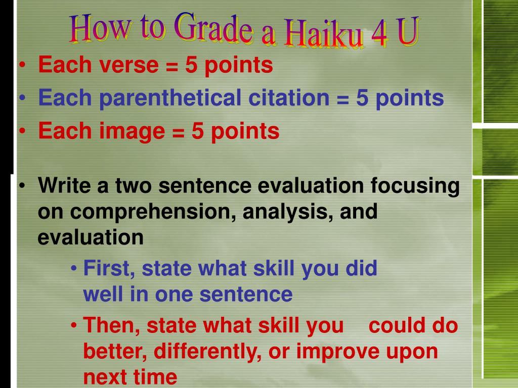 How to Grade a Haiku 4 U