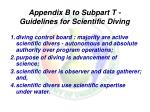 appendix b to subpart t guidelines for scientific diving