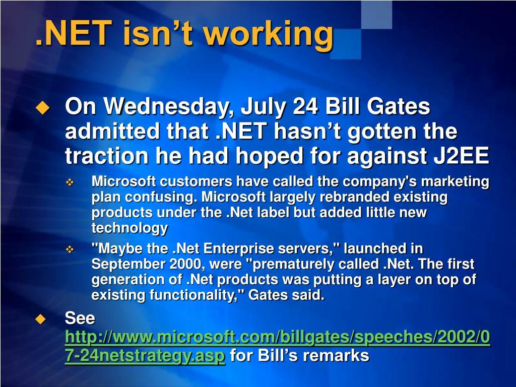 .NET isn't working