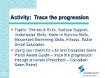 activity trace the progression