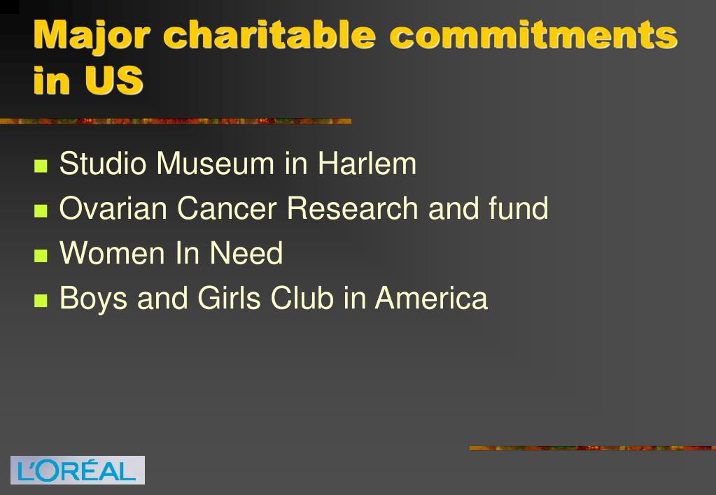 Major charitable commitments in US