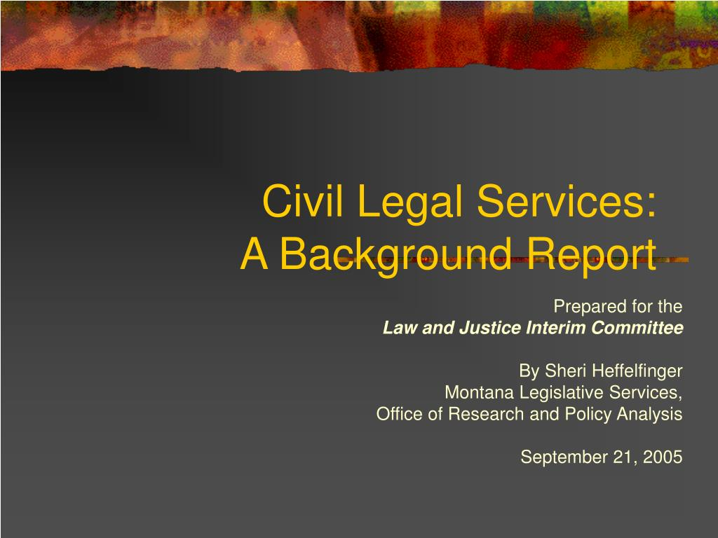 civil legal services a background report l.