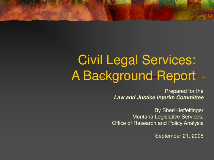 civil legal services a background report n.