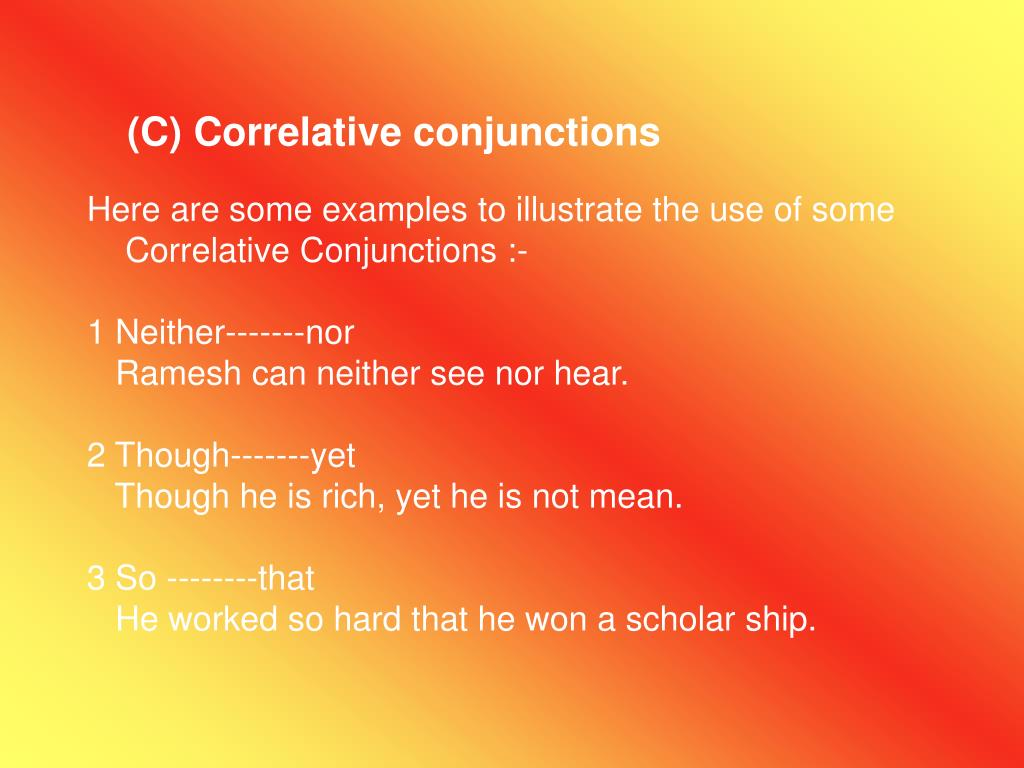 (C) Correlative conjunctions