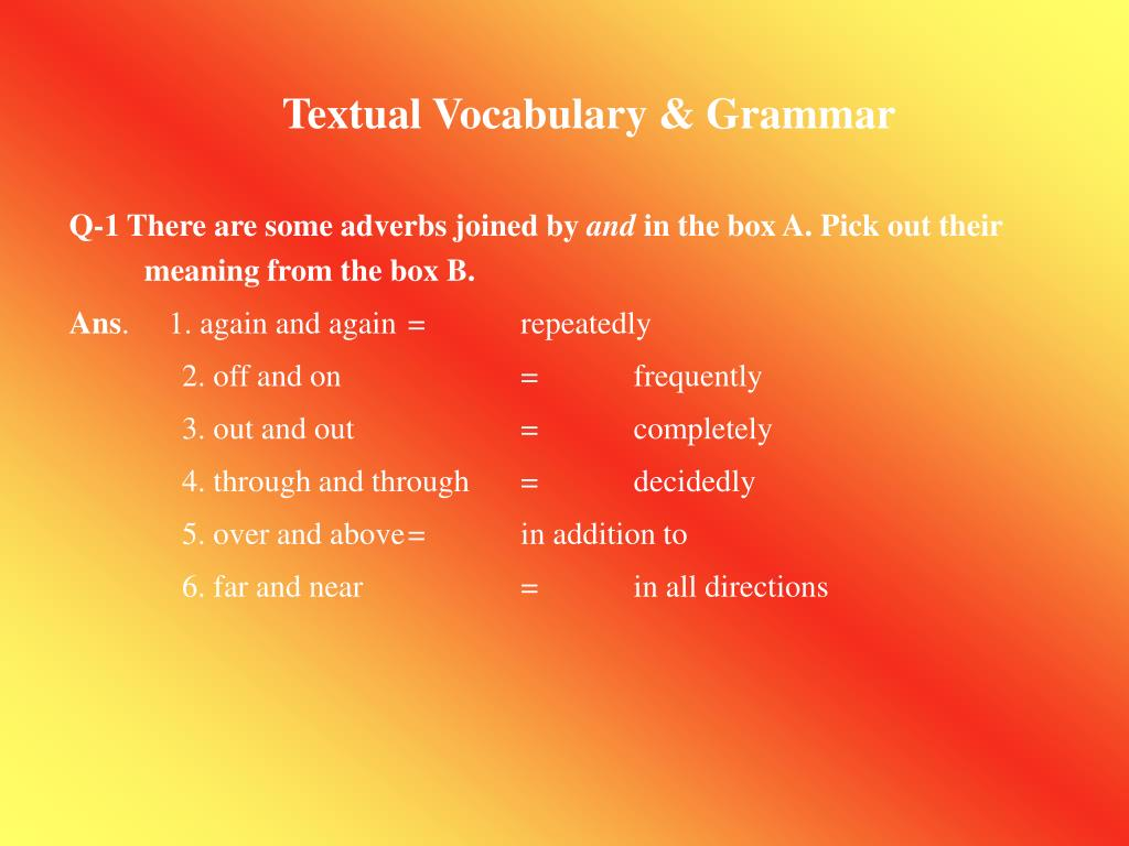 Textual Vocabulary & Grammar