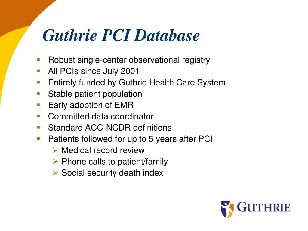 Guthrie PCI Database