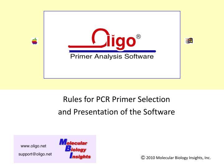 oligo 7 primer analysis software n.