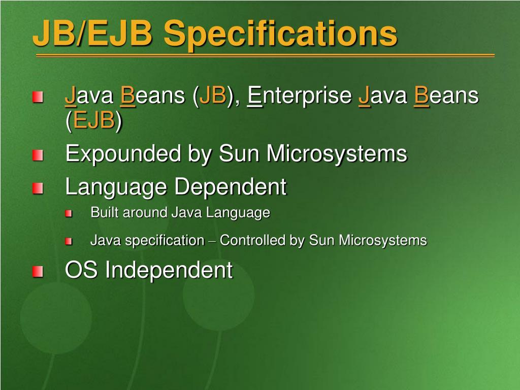 JB/EJB Specifications
