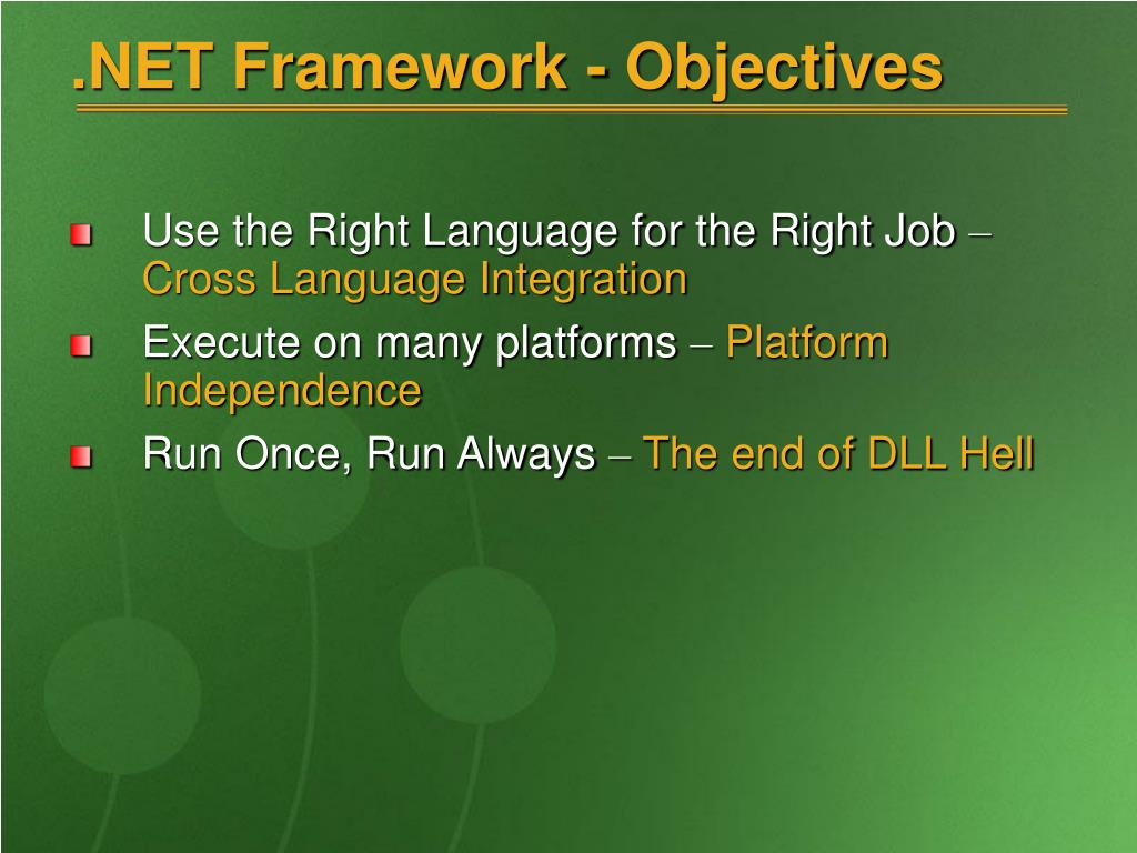 .NET Framework - Objectives