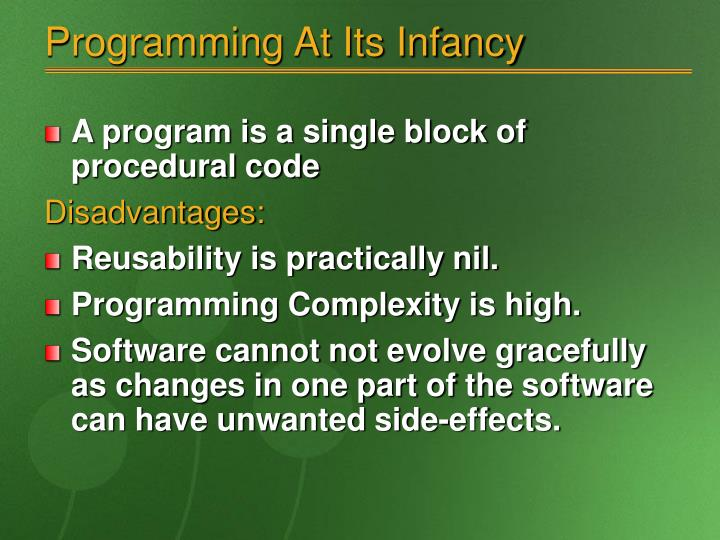 Programming at its infancy