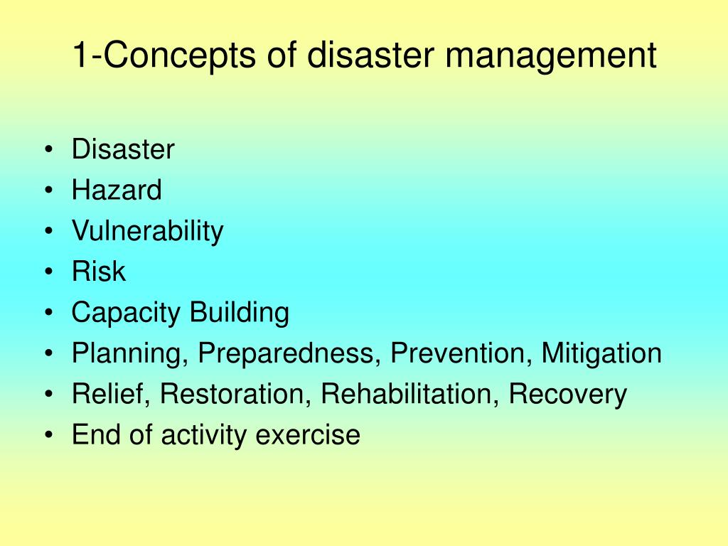 1-Concepts of disaster management