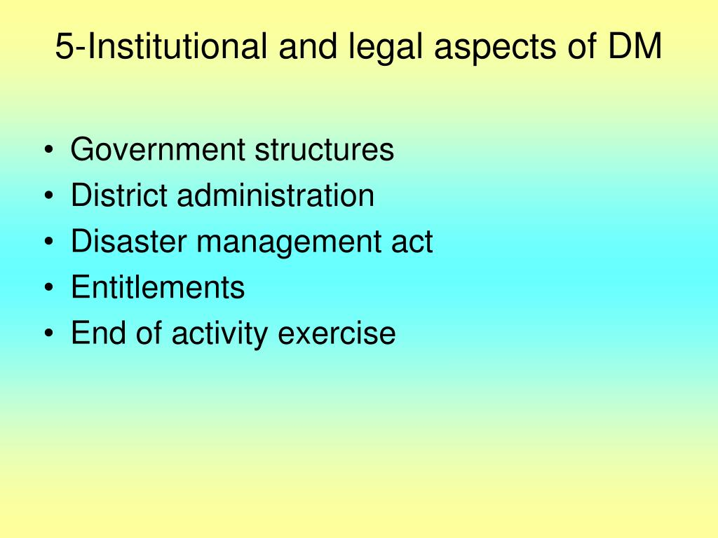 5-Institutional and legal aspects of DM