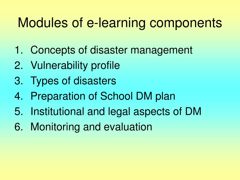 Modules of e-learning components