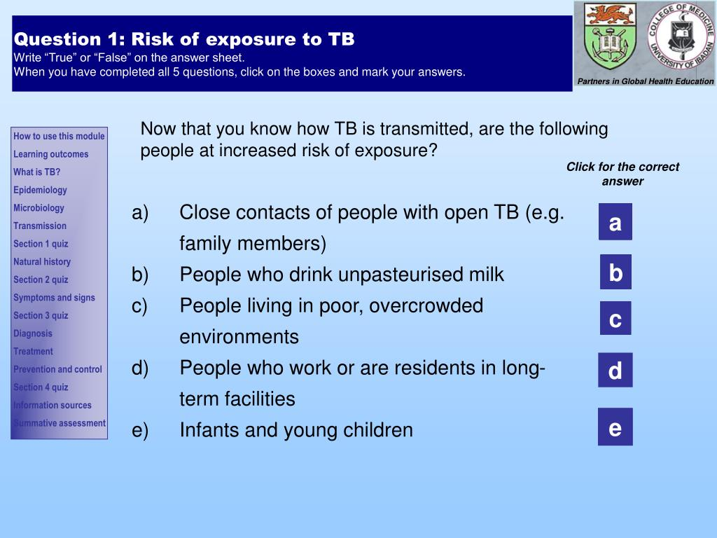 Question 1: Risk of exposure to TB