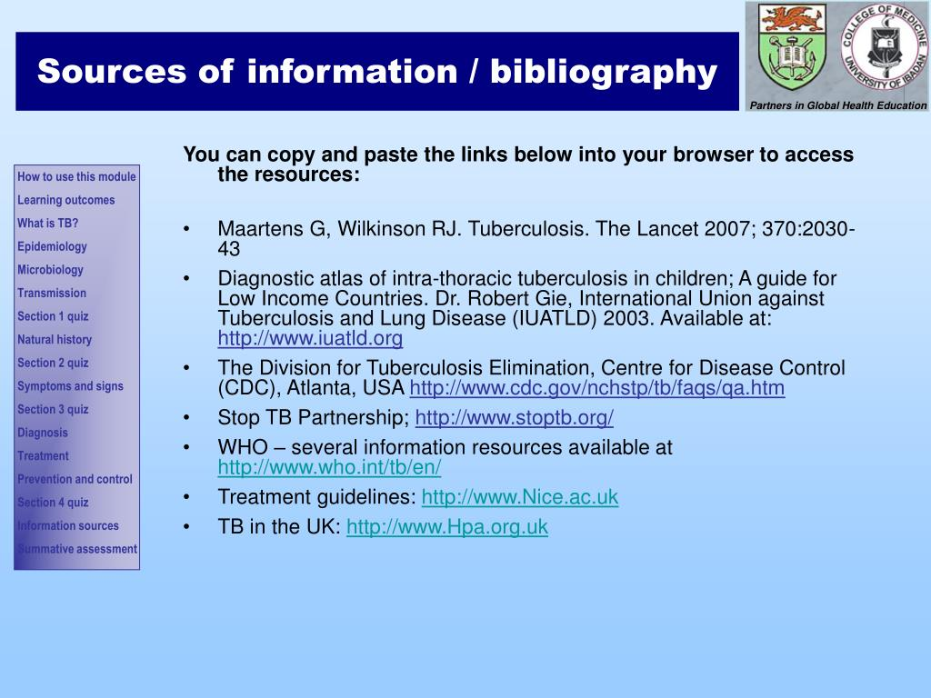 Sources of information / bibliography
