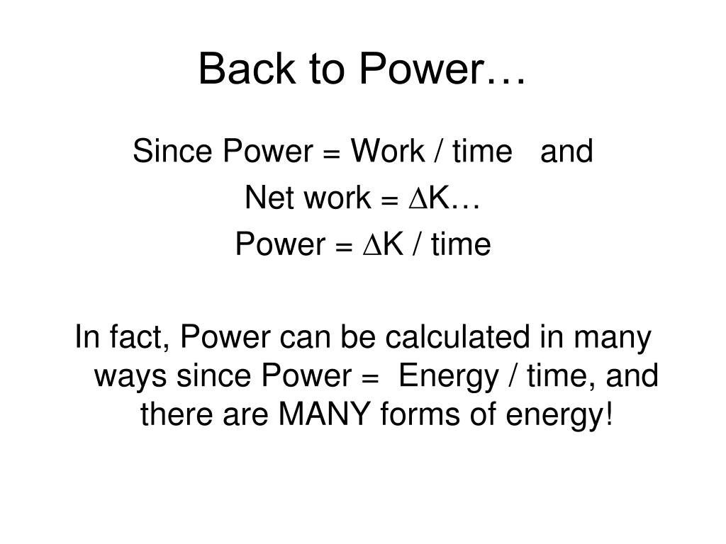 Back to Power…