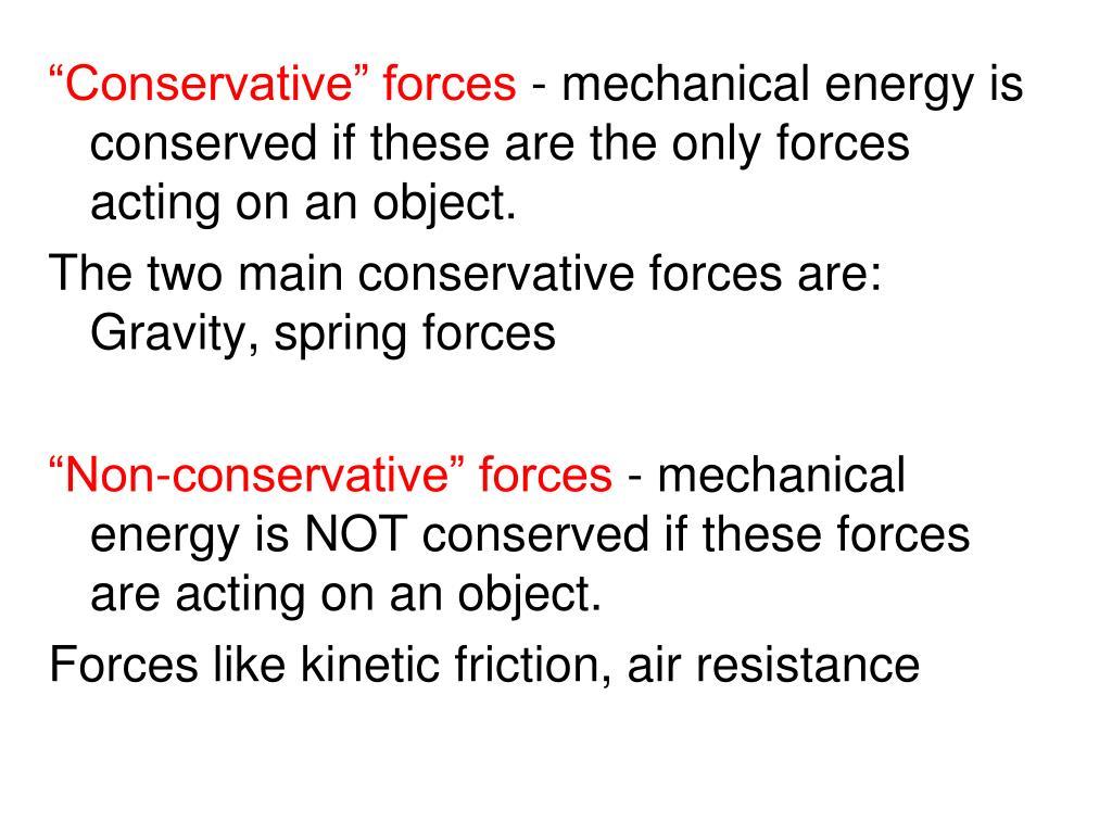 """Conservative"" forces"