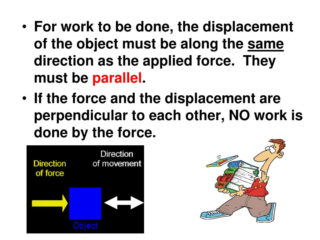 For work to be done, the displacement of the object must be along the