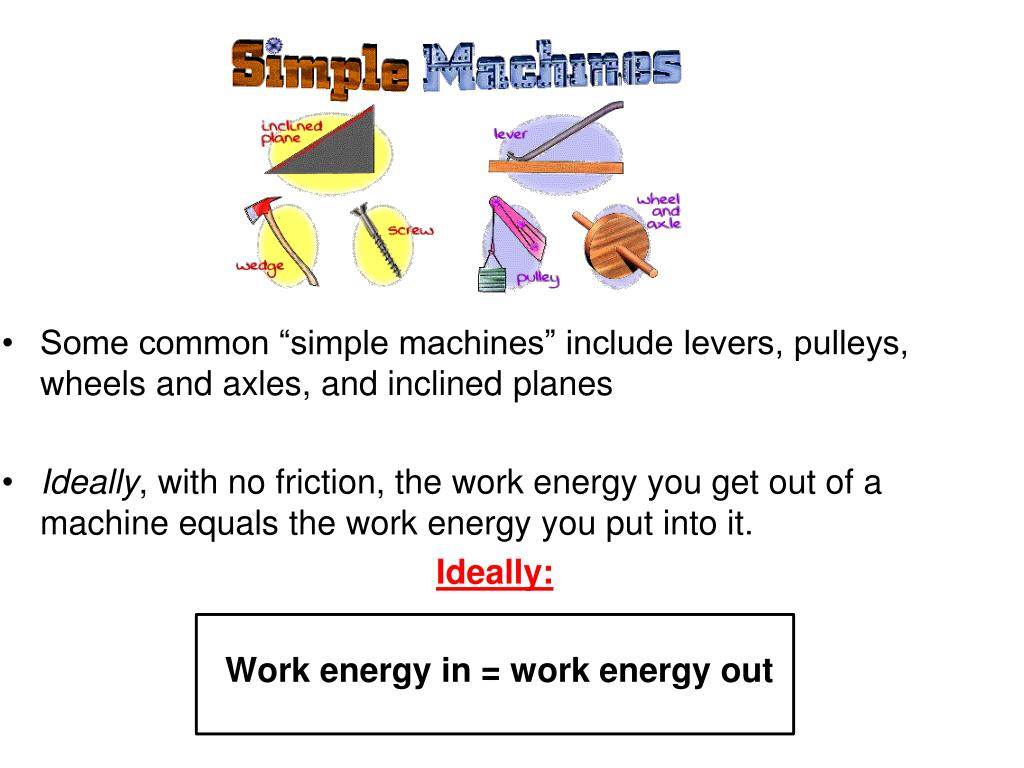 """Some common """"simple machines"""" include levers, pulleys, wheels and axles, and inclined planes"""