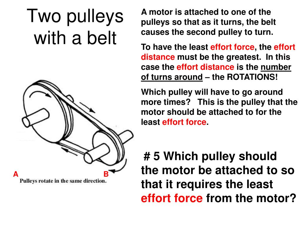 A motor is attached to one of the pulleys so that as it turns, the belt causes the second pulley to turn.