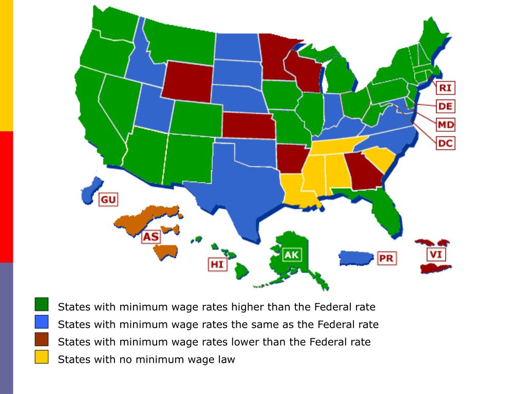 States with minimum wage rates higher than the Federal rate