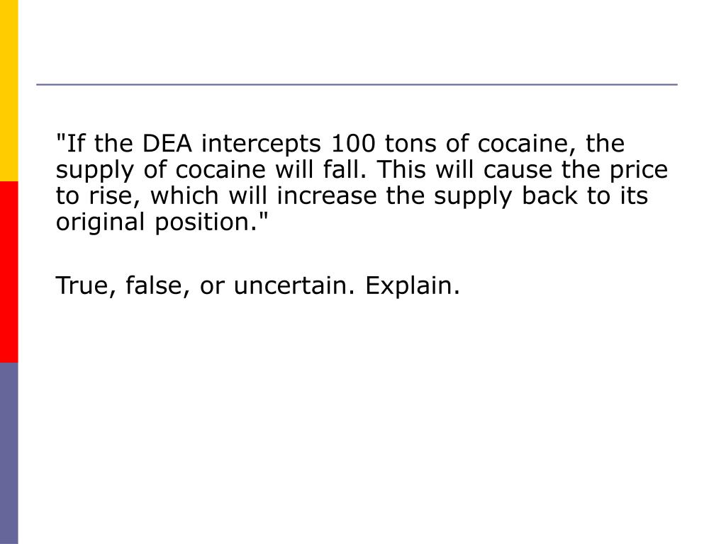 """""""If the DEA intercepts 100 tons of cocaine, the supply of cocaine will fall. This will cause the price to rise, which will increase the supply back to its original position."""""""
