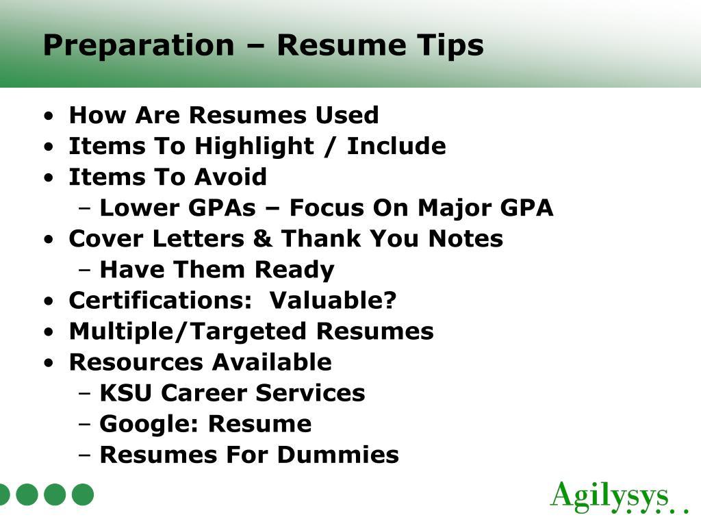 Preparation – Resume Tips