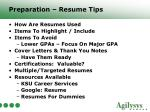 preparation resume tips