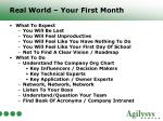 real world your first month