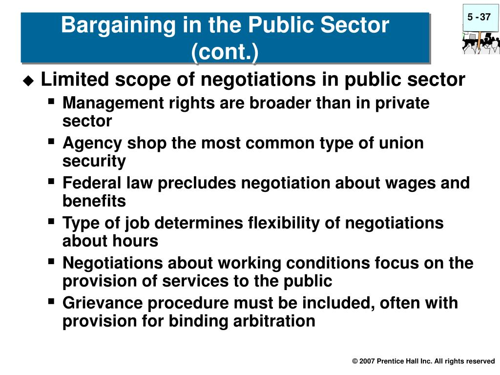 Limited scope of negotiations in public sector